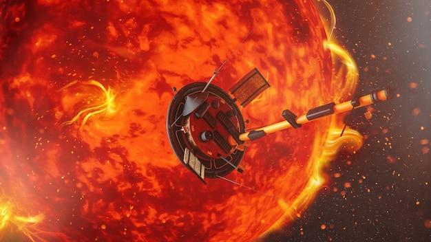 太陽を背景にした衛星