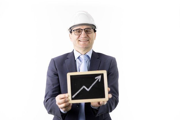 Satisfied overconfident handsome constructor holds upward trend graph smiling