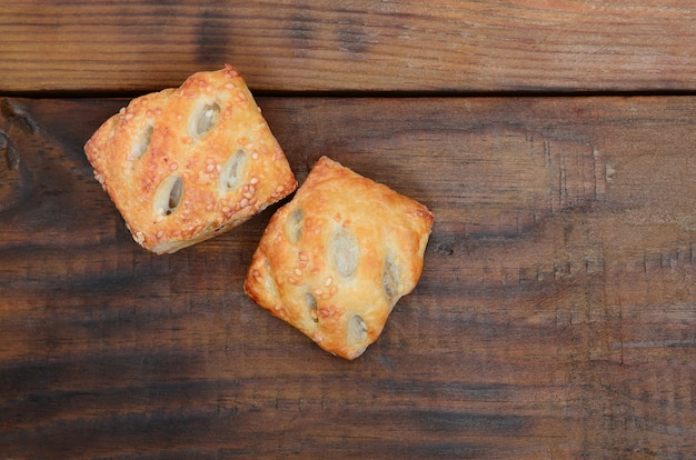 A satisfying meat patty, which combines an airy puff pastry and a delicate pork filling with onions