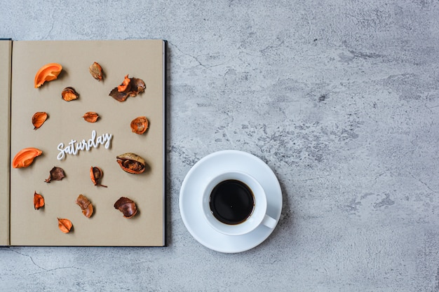 Saturday flat lay minimalist autumn concept with copy space