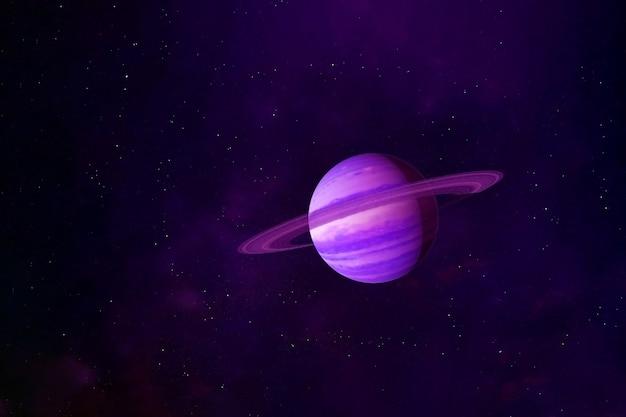 Планета сатурн в розовом цвете. элементы этого изображения были предоставлены наса. для любых целей.