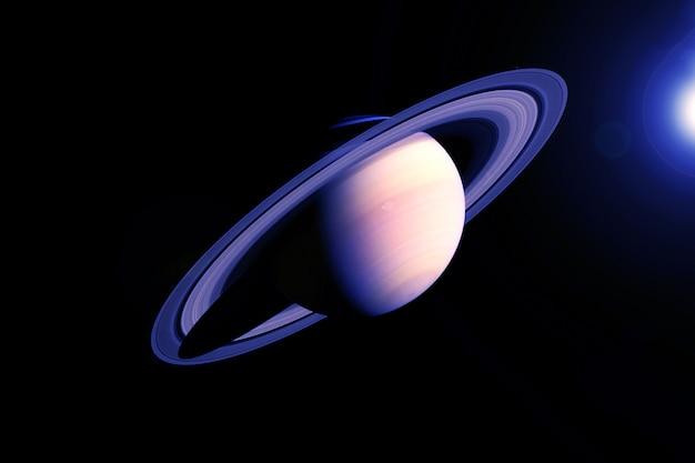 Планета сатурн в необычных цветах. элементы этого изображения были предоставлены наса. фото высокого качества
