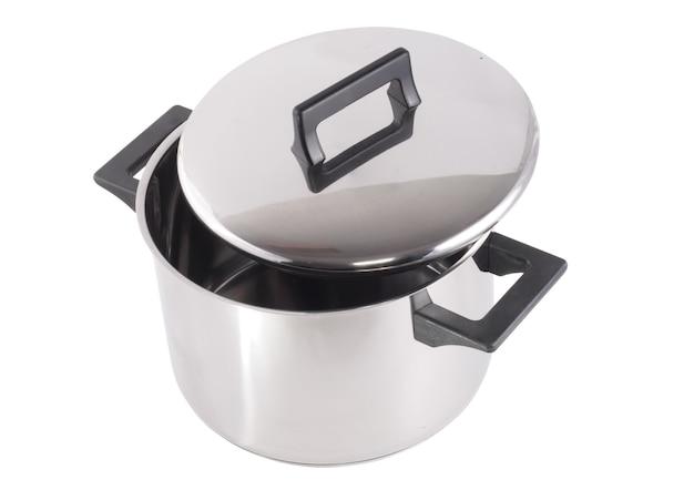 白い背景の上のスタンドカバー付きの鍋(ステンレス鋼製)。