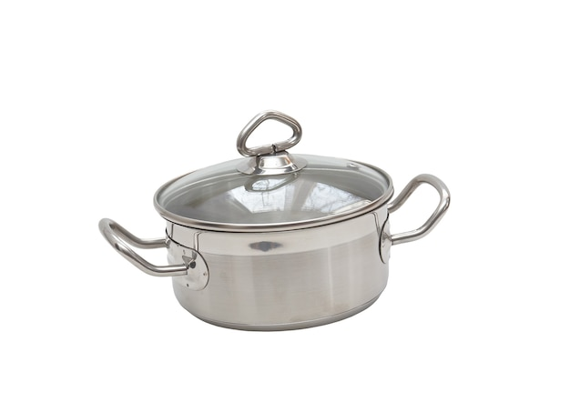 Saucepan, made of stainless steel with  handle,cover, on white background. isolated