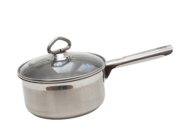 Saucepan, made of stainless steel with long handle,cover, on white background. isolated