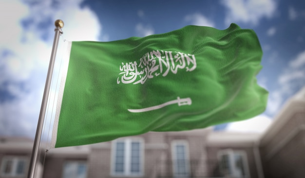 Saudi arabia flag 3d rendering on blue sky building background