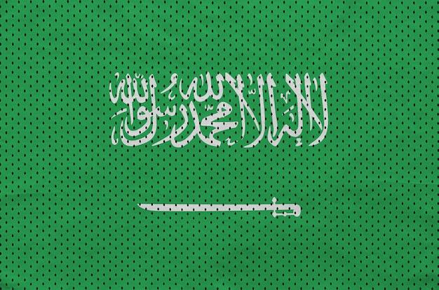 Saudi arabia flag printed on a polyester nylon sportswear mesh fabric