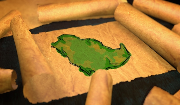 Saudi arabia map painting unfolding old paper scroll 3d