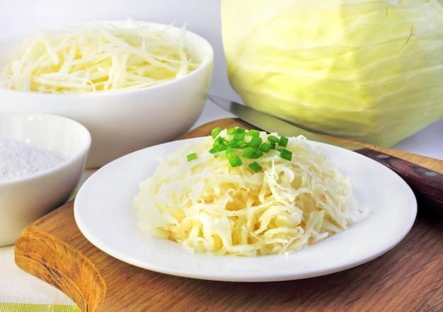 Sauerkraut and ingredients for making it