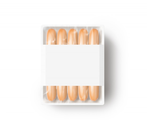 Sausage in blank white plastic disposable box