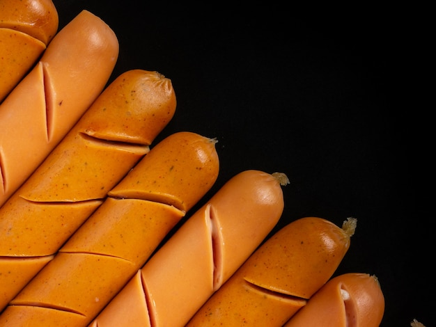 The  sausage closeup image for food or health concept