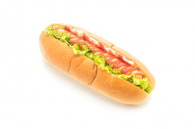 Sausage hotdog with ketchup