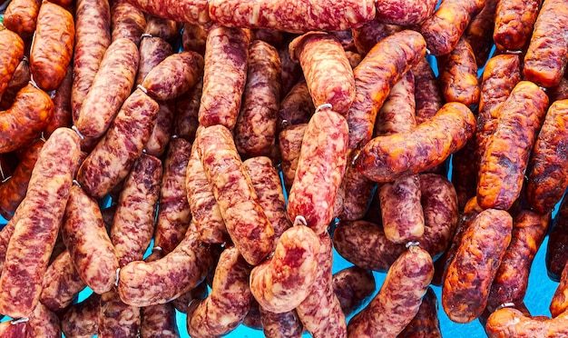 Sausage in a market consisting of red chorizo, a delicious typical snack spanish, food