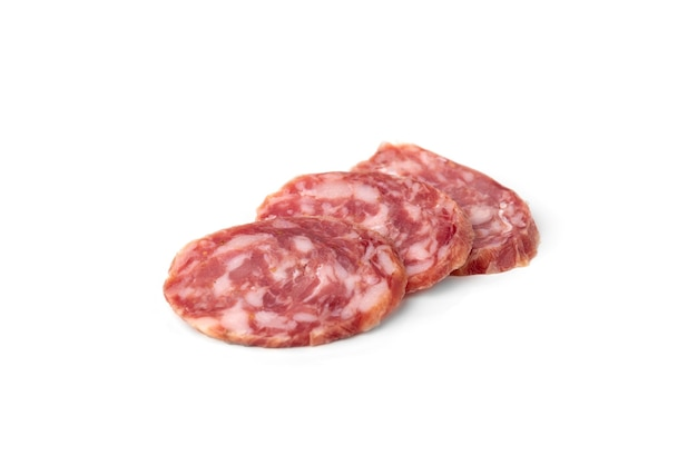 Sausage salami isolated on white background.