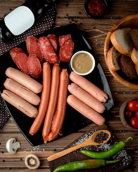 Sausage selection served with mustard
