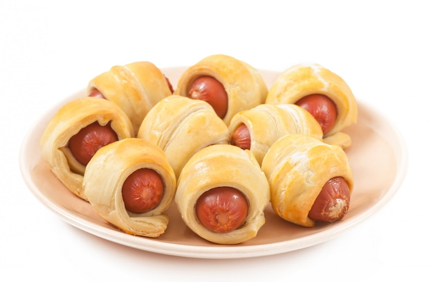 Sausages in dough isolated