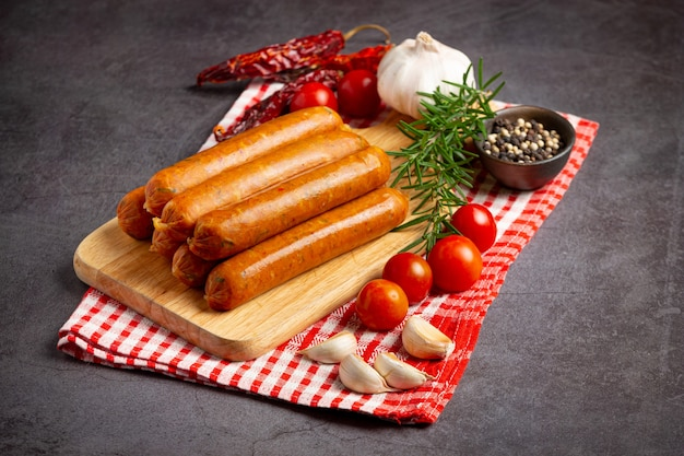 Sausages fried with spices and herbs