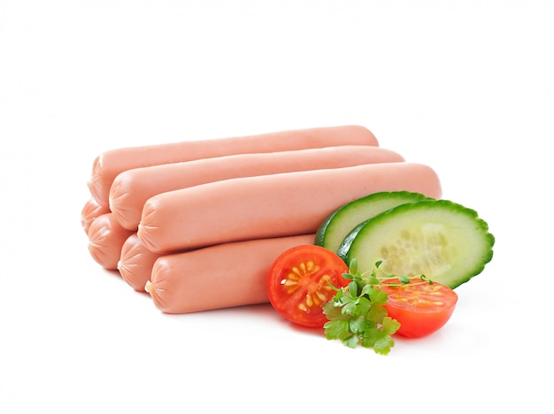 Sausages on the grill and salad