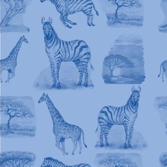 サバンナアフリカシマウマキリンサファリ動物水彩手描きイラスト