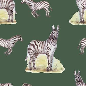 サバンナアフリカシマウマキリンサファリ動物水彩手描き