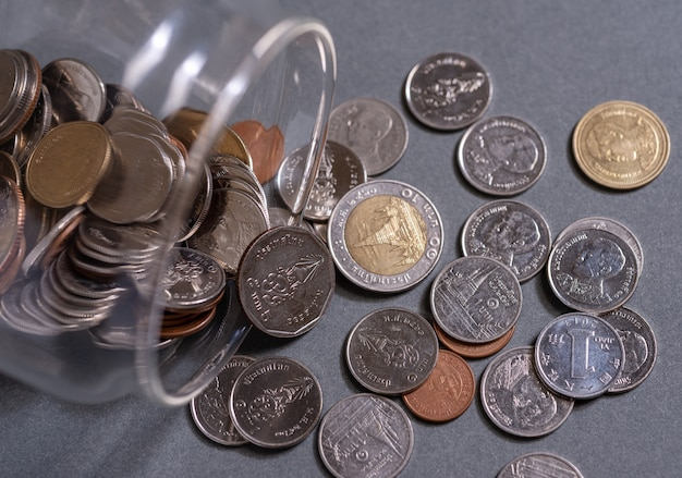 Save coins money for retirement and account banking concept