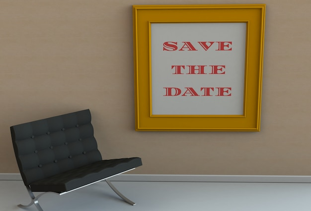 Save the date, message on picture frame, chair in an empty room