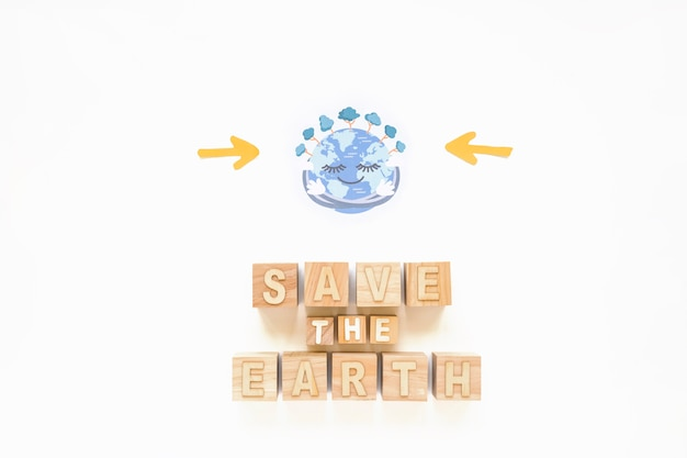 Save the earth inscription and cheerful planet