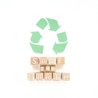 Save the earth inscription and recycle sign