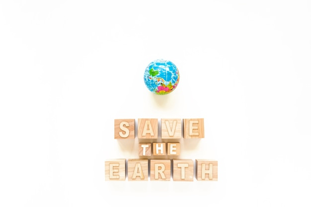 Save the earth and small globe
