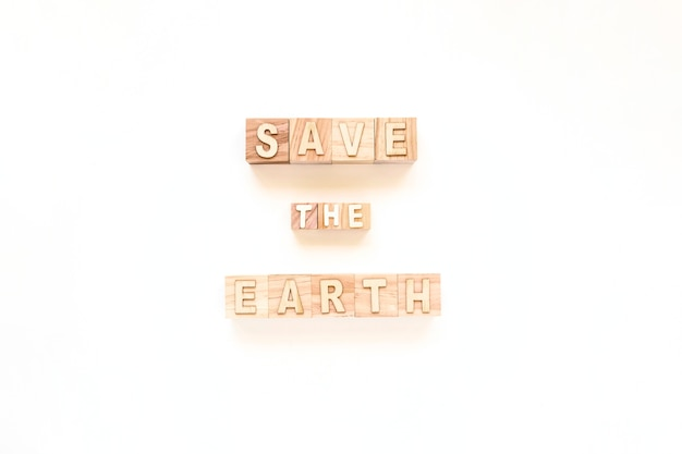 Save the earth on wooden cubes