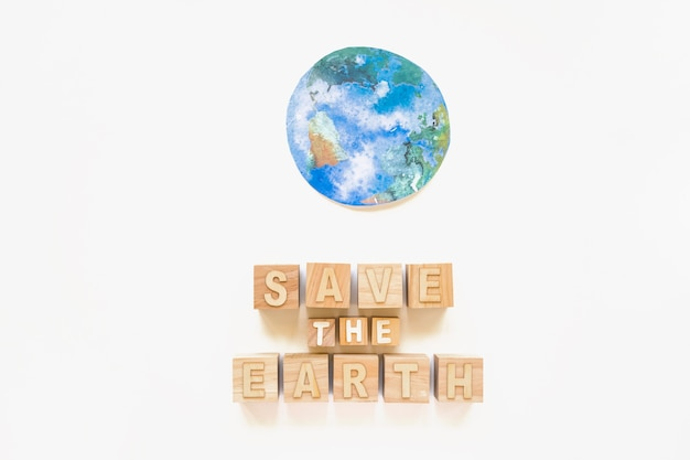 Save the earth words and paper planet