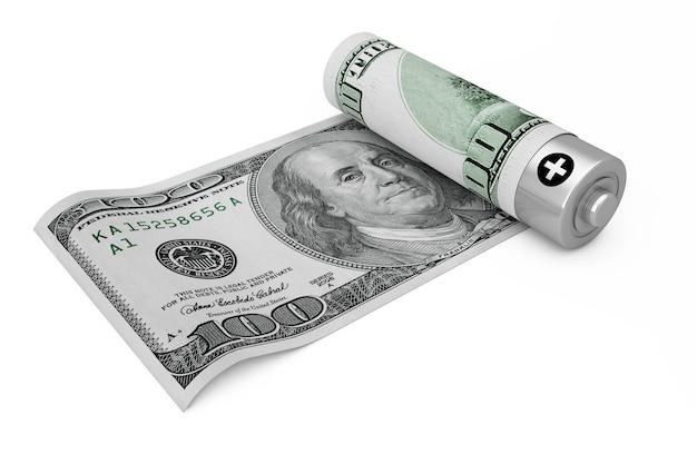 Экономьте деньги концепции. аккумуляторная батарея покрыта банкнотами на белом фоне. 3d рендеринг