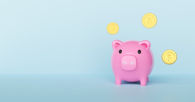 Save money concept with piggy bank 3d rendering.
