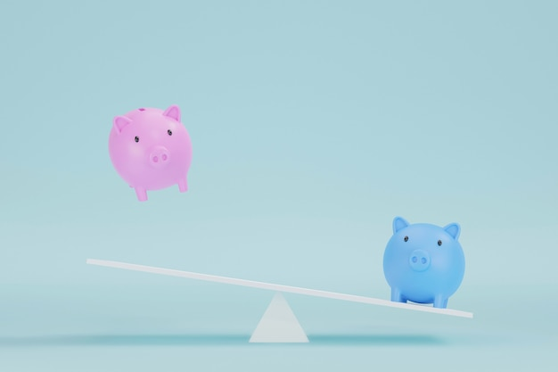 Save money and investment concept. piggy bank pink and blue on seesaw scale. 3d illustration