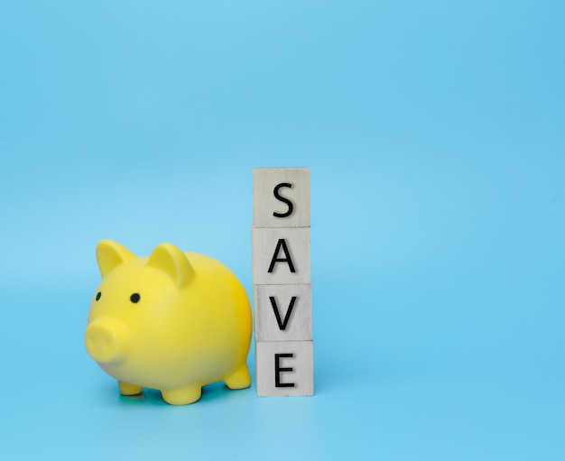Save money in piggy bank on blue background