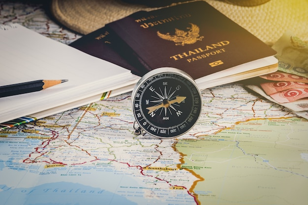 Save money for travel trip. travel accessories for the travel trip. passports