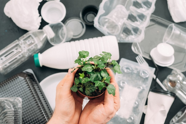 Спасите планету. защита окружающей среды. зеленое растение в руках человека над плоской кладкой пластикового мусора. проблема экологии.
