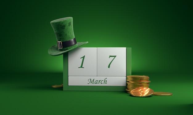 3 월 17 일 st patrick 's day의 날짜 흰색 블록 달력을 레프 러콘 요정 모자와 금색 냄비로 녹색에 저장하십시오.