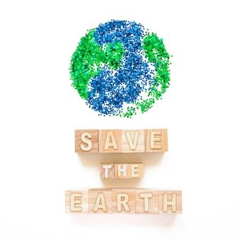 큐브와 행성 기호에 지구 단어를 저장