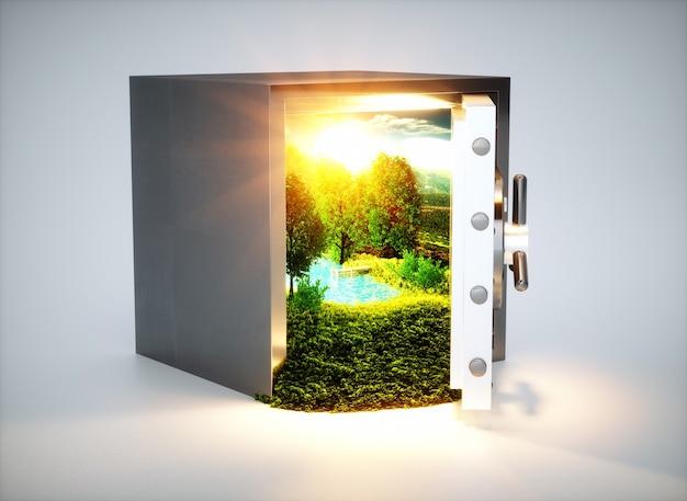 Спаси природу! 3d визуализация концепции охраны природы.