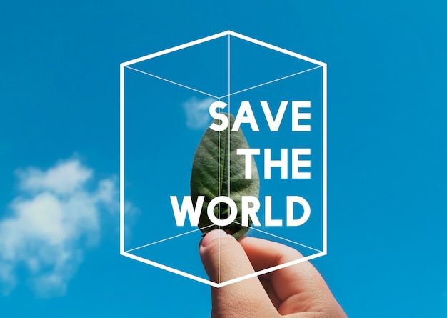 Salva il mondo natura ambiente sostenibilità grafico