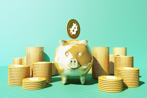 돼지 저금통에 황금 비트 코인 저장, cryptocurrency로 거래하는 디지털 통화 돈, 이익이있는 동전, 노란색 및 녹색 톤의 금융 개념. 3d 렌더링