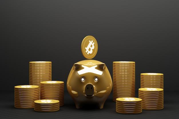 돼지 저금통에 황금 비트 코인 저장, cryptocurrency로 거래하는 디지털 통화 돈, 이익이있는 동전, 노란색 톤의 금융 개념. 3d 렌더링