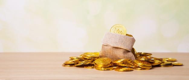 Saving golden coins in sack