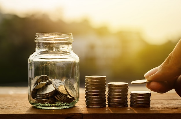 Saving money and banking for finance concept