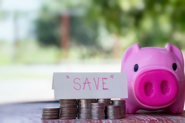 Saving money, business finance and money concept; stack coins on wood table with blurred pig background.