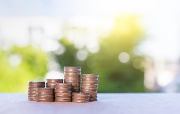 Saving money coins concept