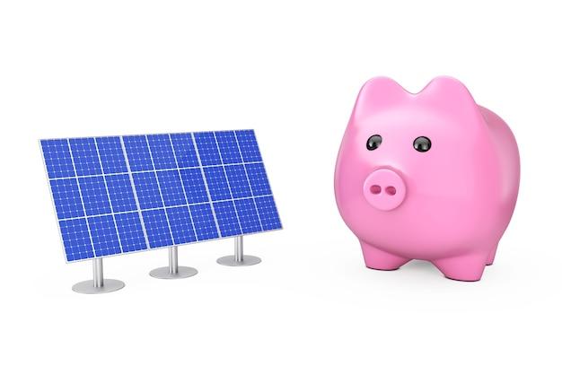 Экономия денег концепции. копилка с синими панелями солнечных батарей на белом фоне. 3d-рендеринг.