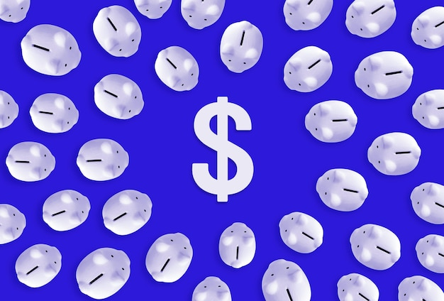 Saving money or financial investment concepts with piggy bank and dollar icon sign.business economic ideas