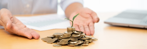 Saving money and investment concept